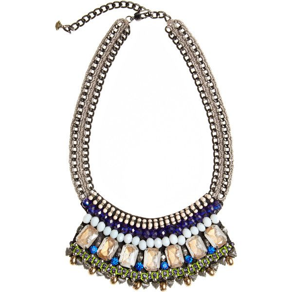 NOCTURNE Mosi Bead Embellished Bib Necklace (11.810 RUB) found on Polyvore