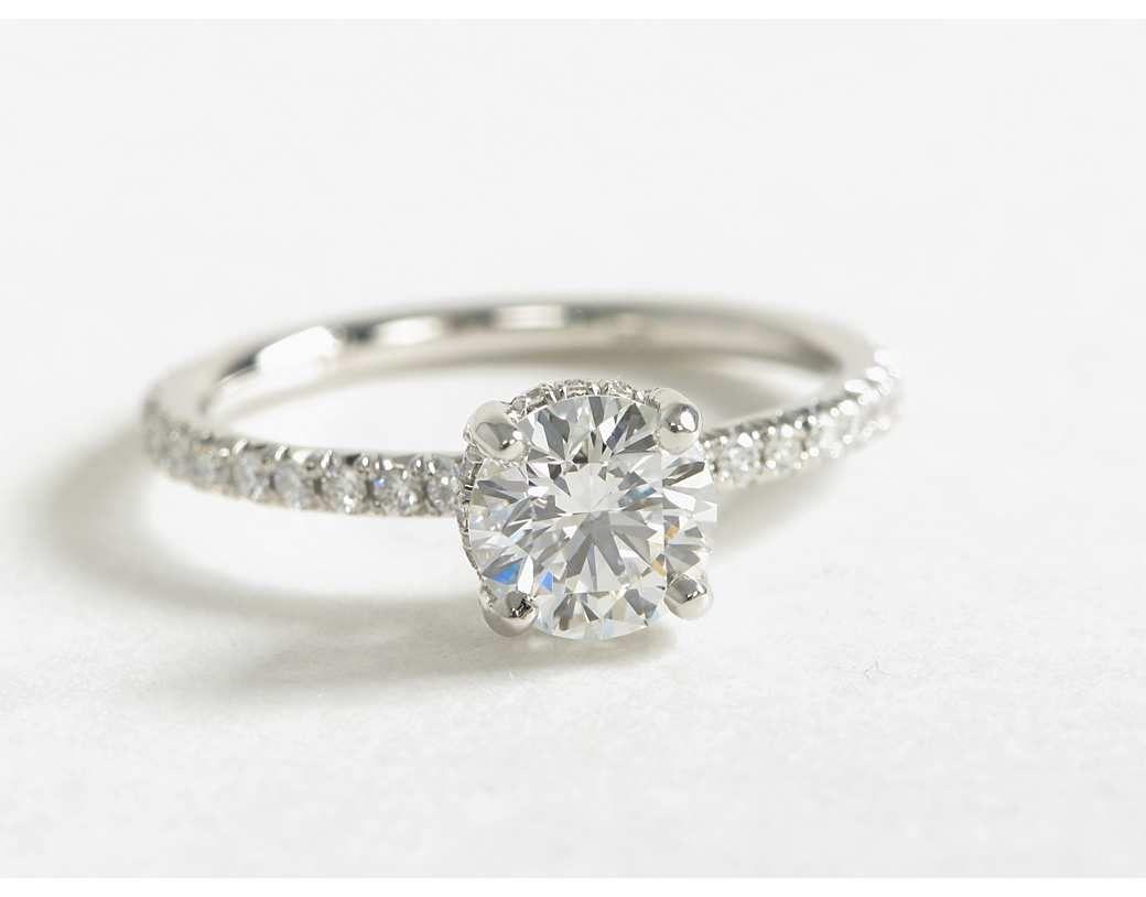 1 Carat Diamond Blue Nile Studio Petite French Pavé Crown Diamond  Engagement Ring  Blue Nile