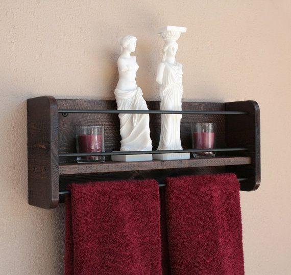 Rustic Bathroom Shelf With Towel Bar Shelf For Bathroom Shelf With Towel Bar Rustic Towel Rack Shelf With Towel Holder Rustic Bathroom Shelves Rustic Wall Shelves Bathroom Wood Shelves