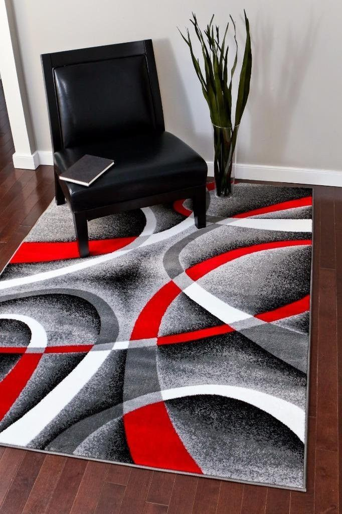 2035 Gray Red Contemporary Area Rugs