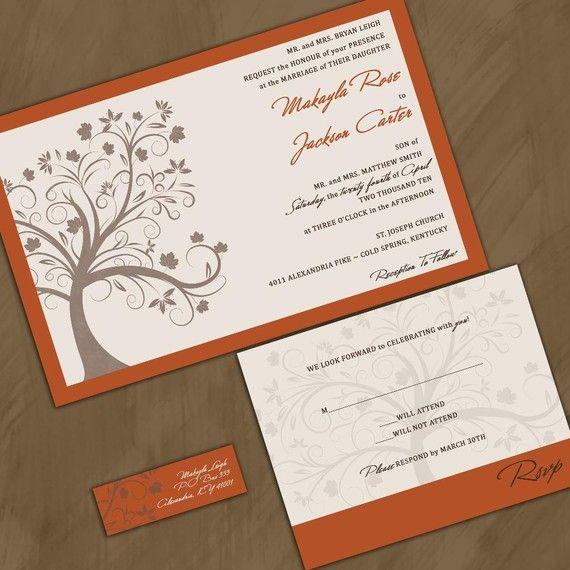 Invitations Perfect For A Fall Wedding Fall Wedding Invitations Cheap Wedding Invitations Tree Wedding Invitations