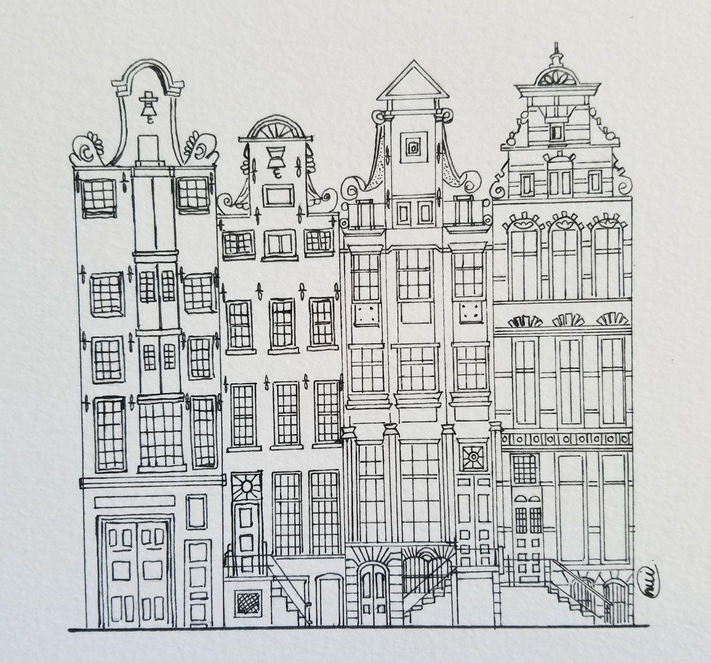 Amsterdam Houses Amsterdam Sketch Draw Art Artbynui