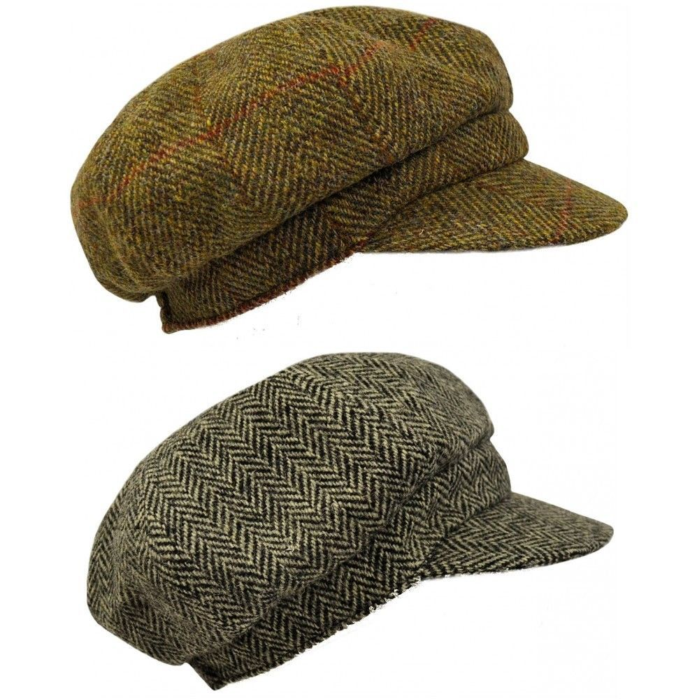 Harris Tweed Ladies or Men s Baker Boy Cap in Black or Brown Herringbone  0307850f109