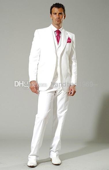 New Style White Groom Tuxedos Groomsman Best Man Blazer Mens