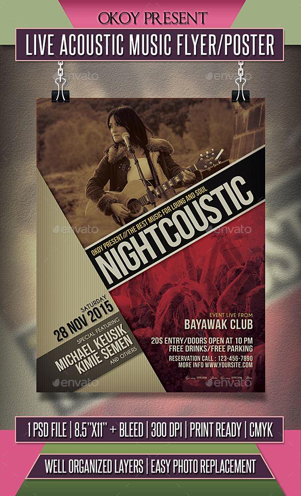 Live Acoustic Music Flyer   Poster Music flyer, Acoustic music - music flyer template