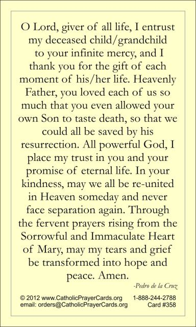 Prayer for Those Mourning the Loss of a Child Holy Card