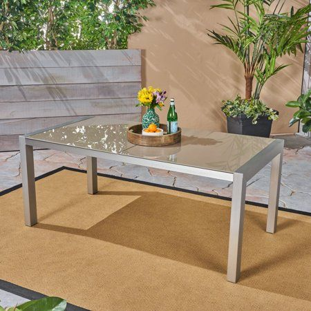 Crane Outdoor Tempered Glass Dining Table With Aluminum