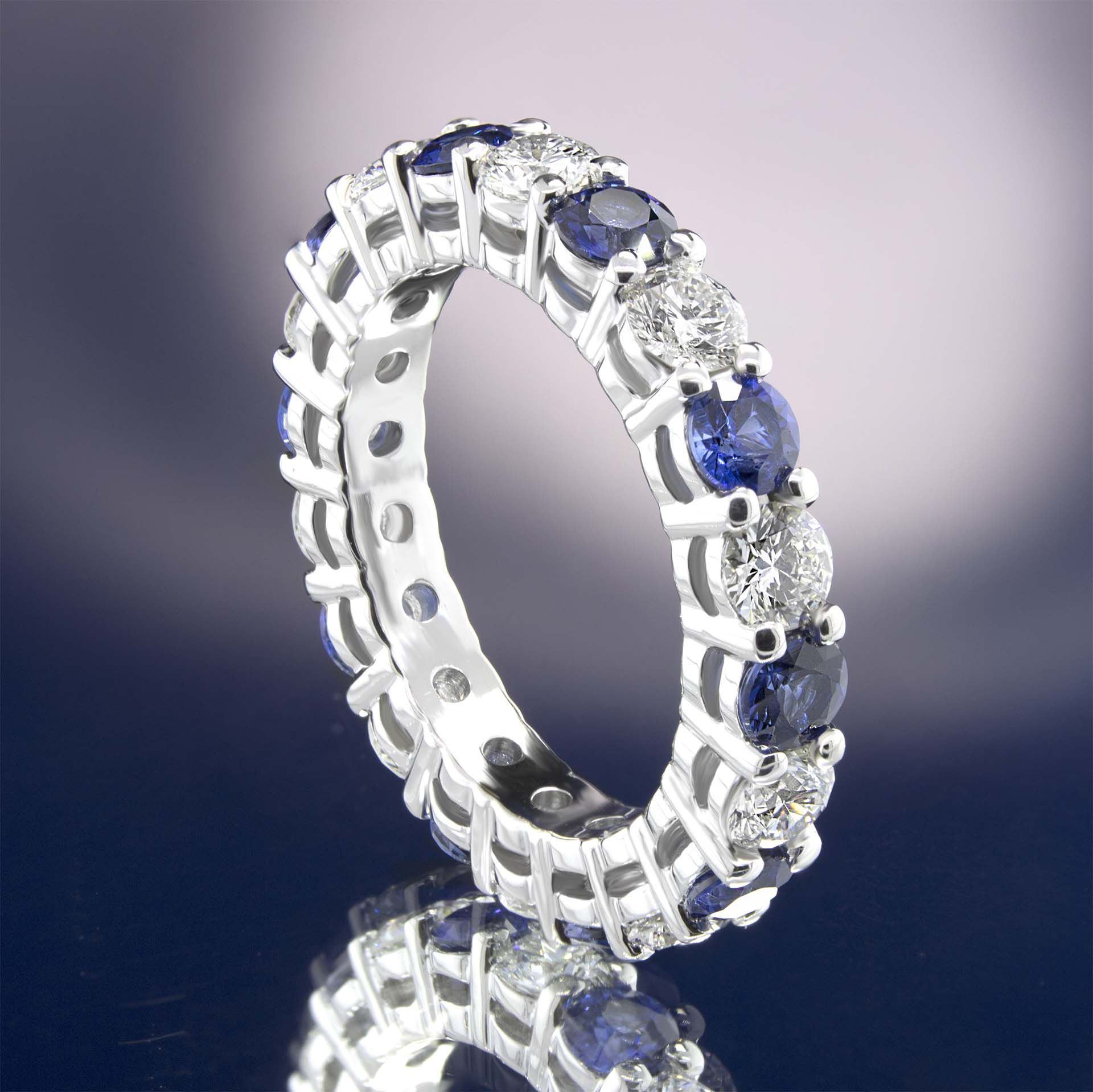 Diamond And Round Sapphire Eternity Ring 2 7 Carats Gold Or Platinum Sapphire Eternity Ring Eternity Ring Diamond