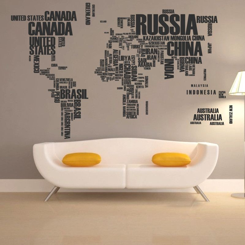 Art New Design Home Decor English Character World Map Wall Sticker
