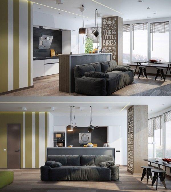 Homedesigning: U201c Scandinavian Living Room Design: Ideas U0026 Inspiration U201d  Eine Offene Küche Mit Angrenzendem Wohnzimmer In Gedeckten Farben Und Einer  Modernen ...
