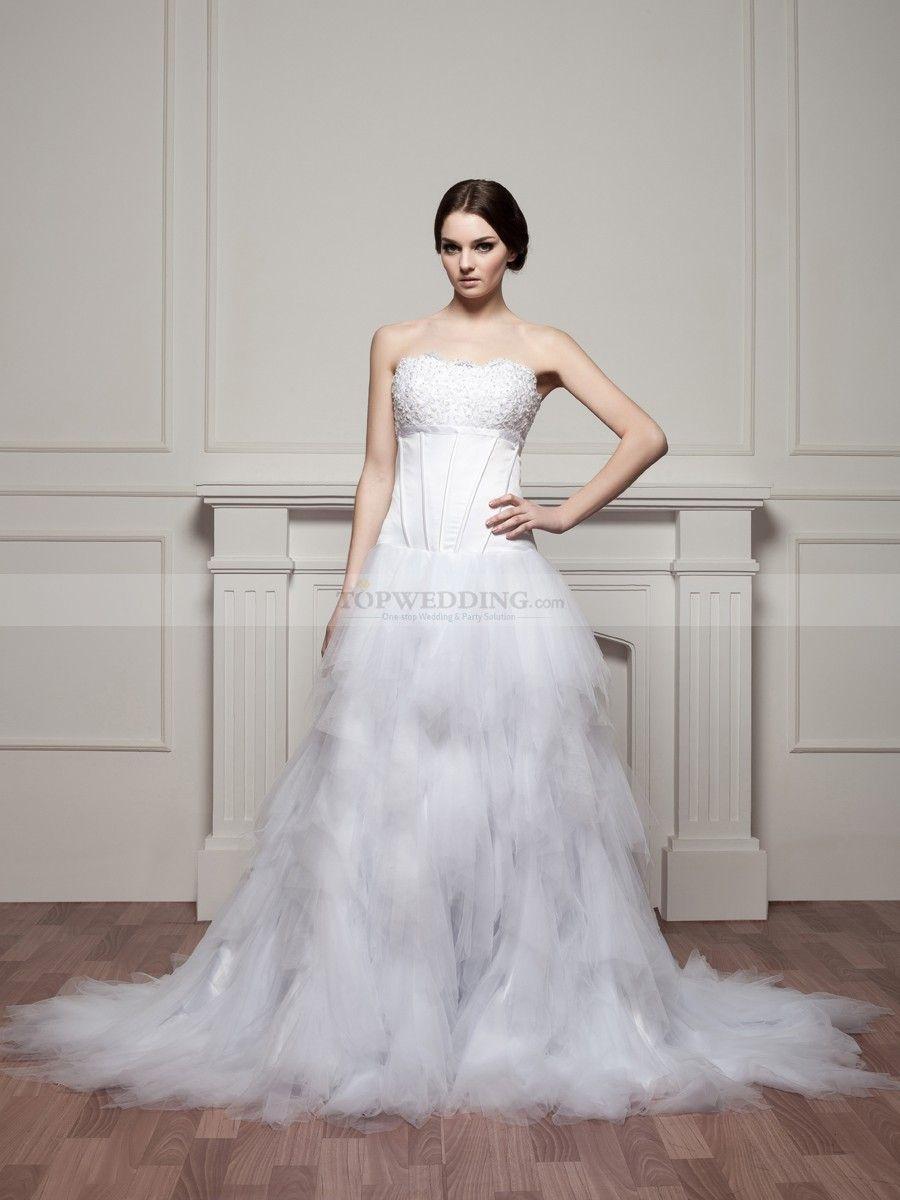 Swan Lake Inspired Beaded Satin And Tulle Wedding Dress