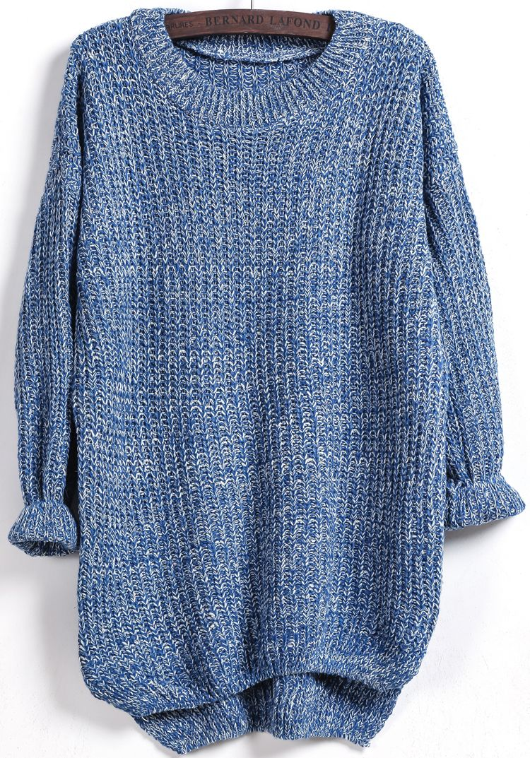 Shop Blue Long Sleeve Dipped Hem Loose Sweater online. Sheinside ...