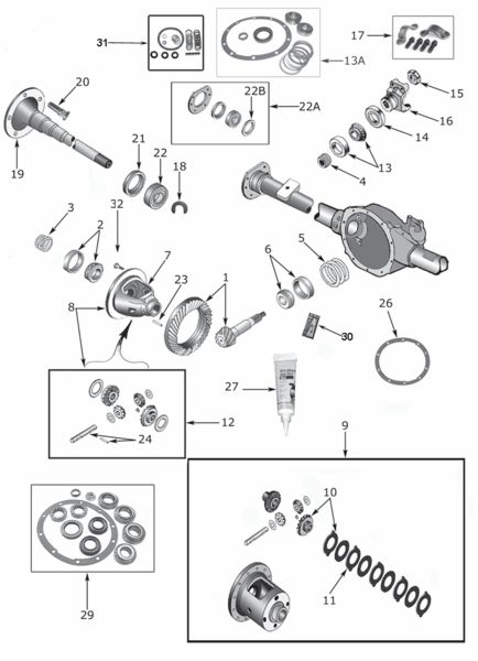 Wrangler YJ Dana 35 Rear Axle Parts (1987-95) Exploded