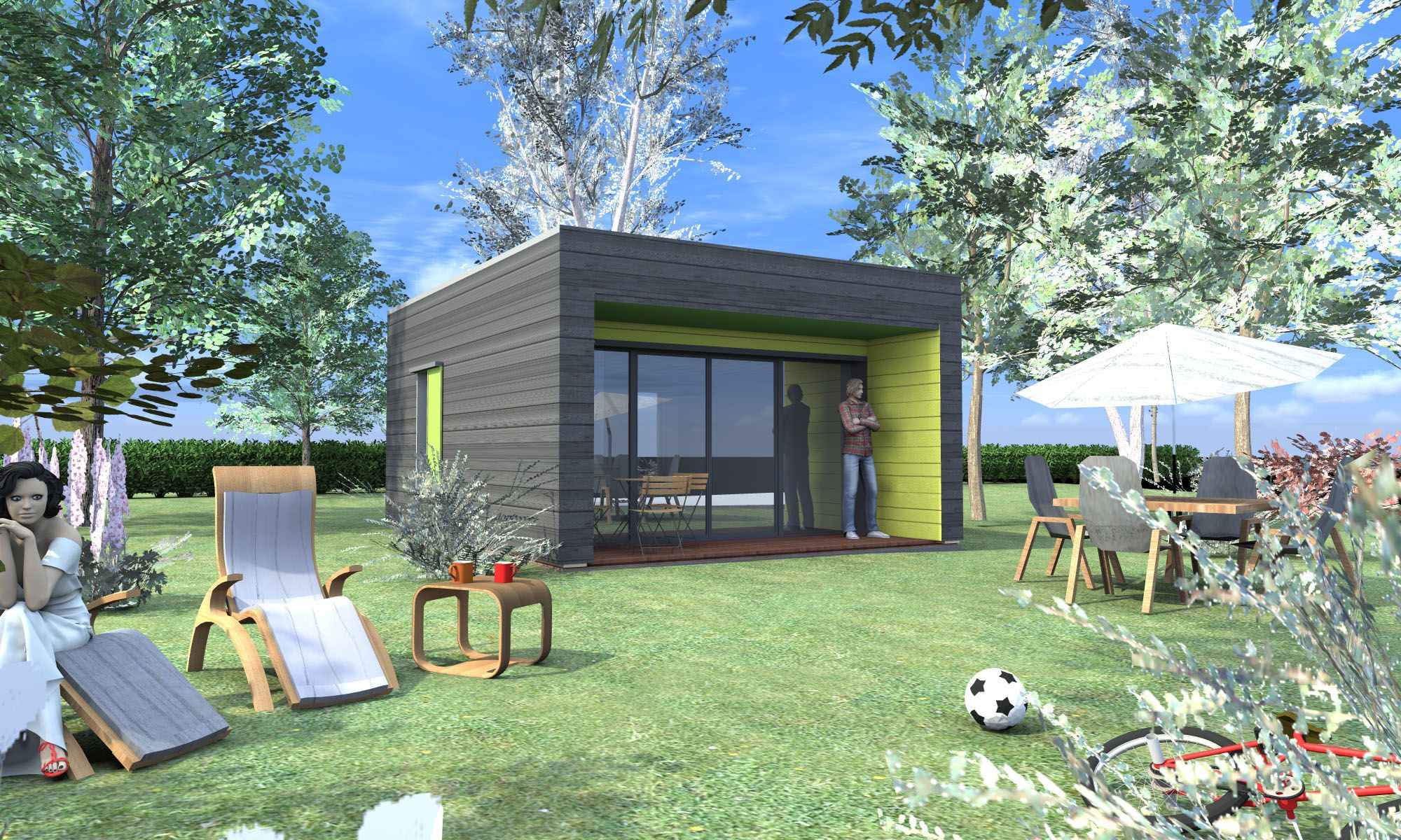 Maisons En Bois. Modèle Cubik 05 Vue Extérieure Jardin, Carpark | Gamme  Absolument Bois   Maisons à Ossature Bois | Pinterest