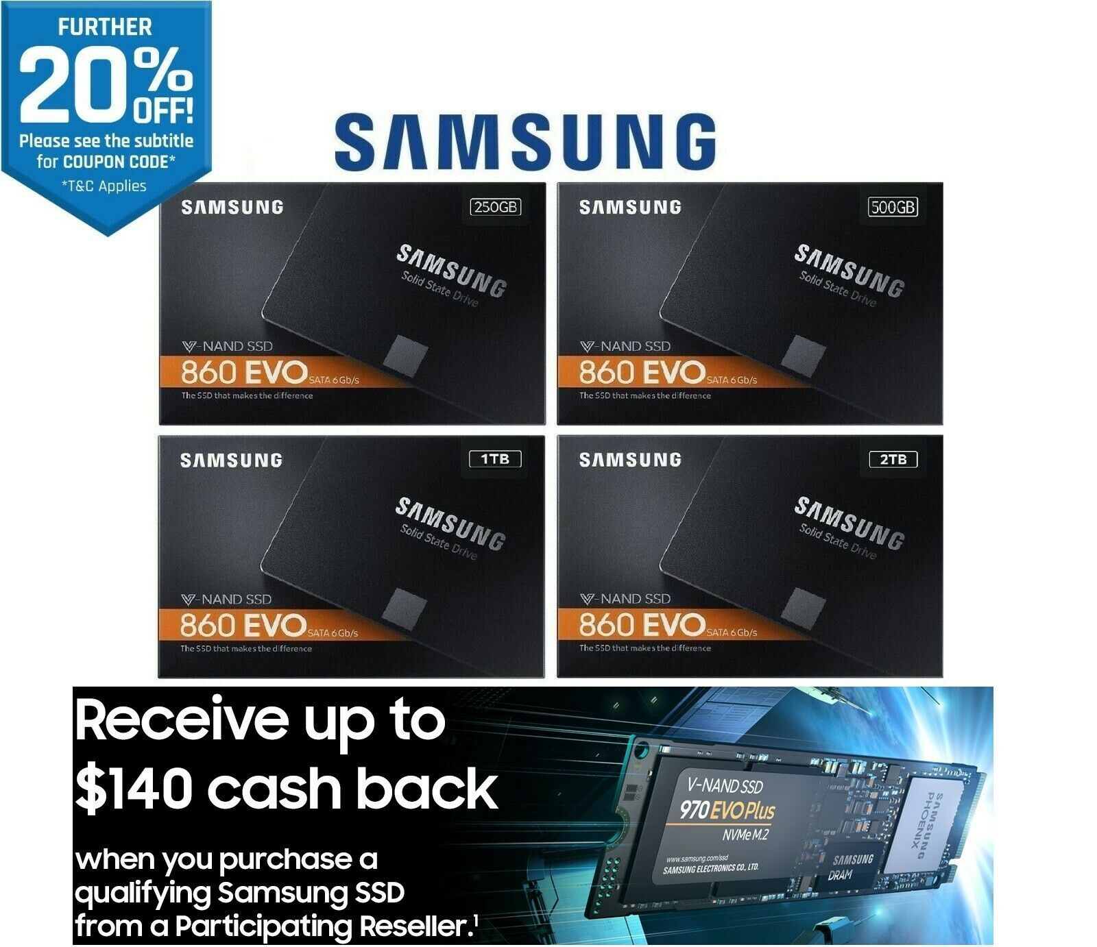 Samsung 860 EVO 1TB 188.80, QVO 2TB 314.40 Delivered