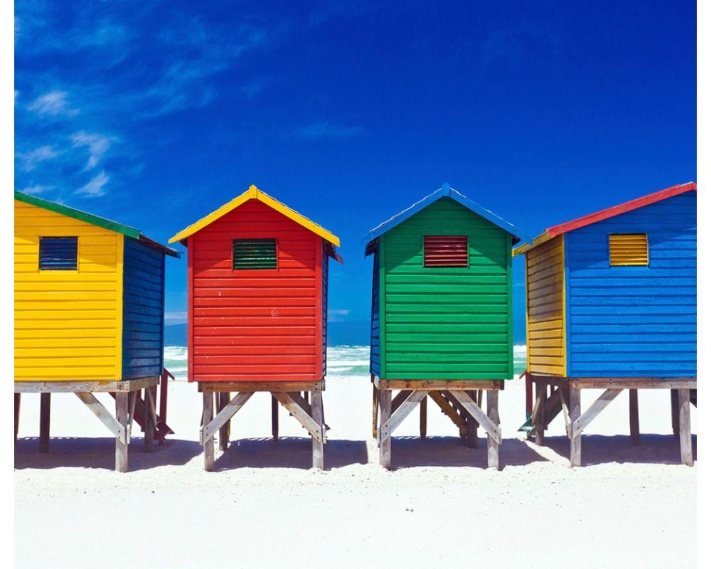 bunte strandhütten. fototapete / vliestapete xxlwallpaper 2. motiv ... - Wohnzimmer Gelb Rot