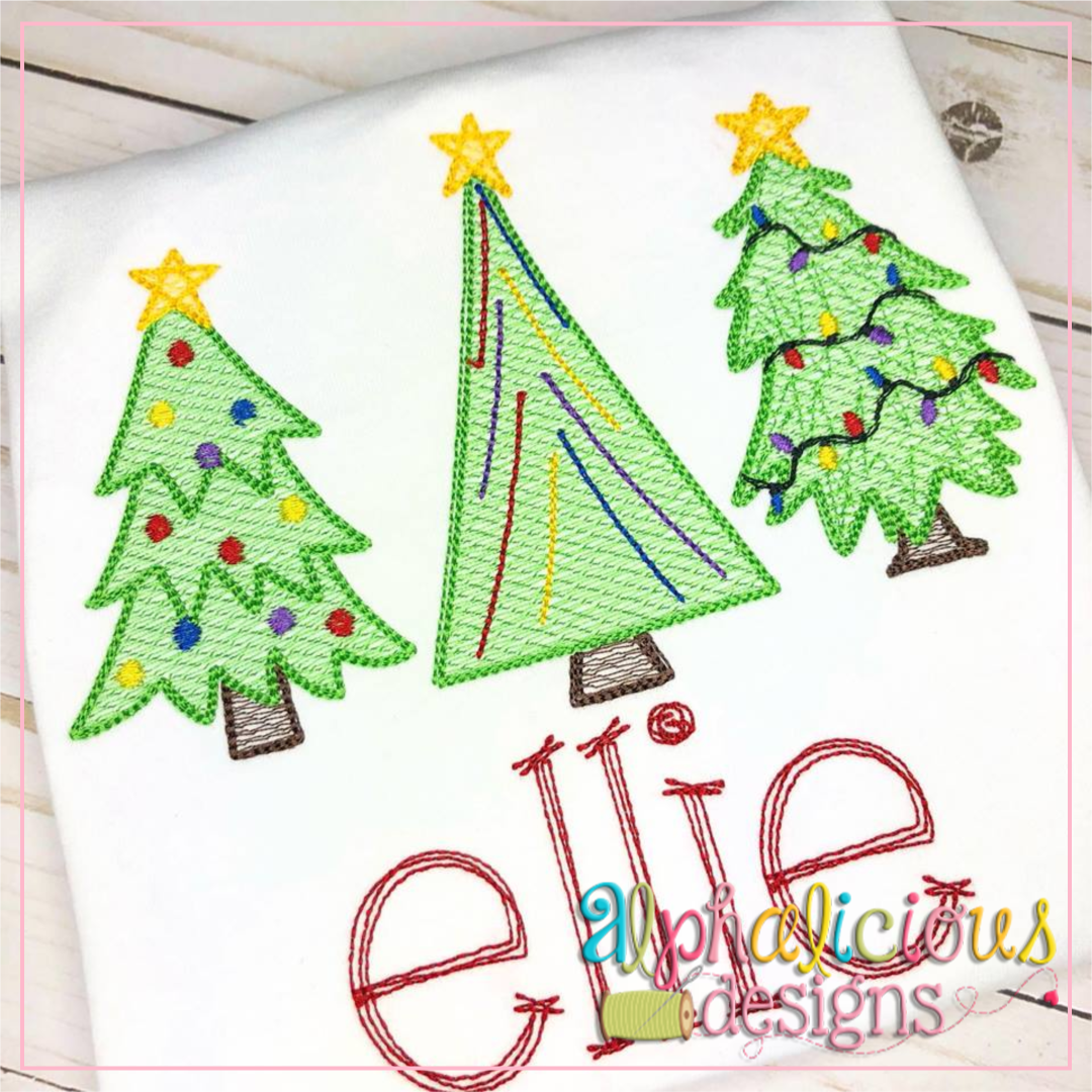 Tree Trio Sketch Christmas Sketch Embroidery Designs Machine Embroidery Designs