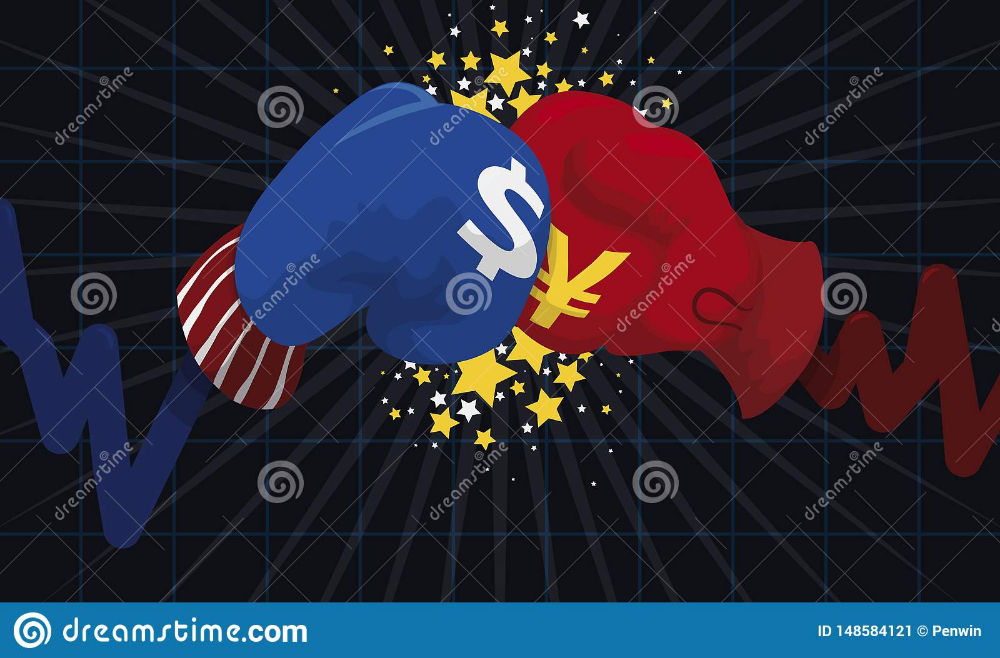 Statistics Fighting With Gloves And Punch During Trade War War Trading Vector Illustration