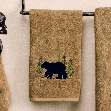 Black Bear Forest Hand Towel - Cabin  Bathroom Decor - Walmart.com