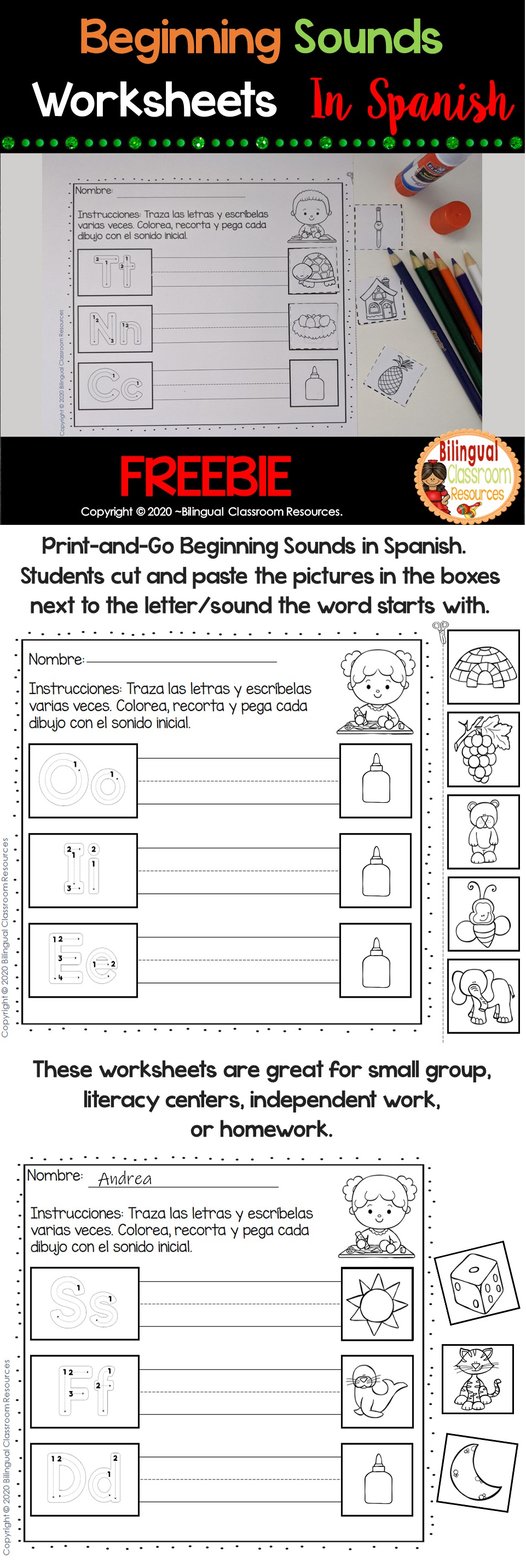 Beginning Sounds In Spanish Sonidos Iniciales Freebie Resource Classroom Beginning Sounds Worksheets Foreign Language Teaching [ 2865 x 961 Pixel ]
