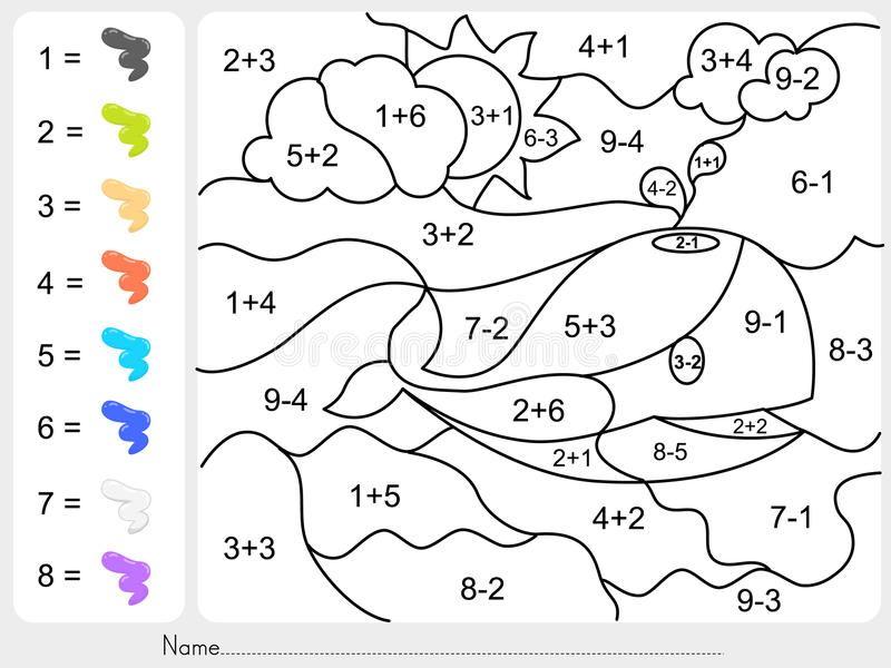 Pinte A Cor Por Numeros Da Adicao E Da Subtracao Ilustracao Royalty Free Math Activities Preschool Fun Math Worksheets Math Coloring Worksheets