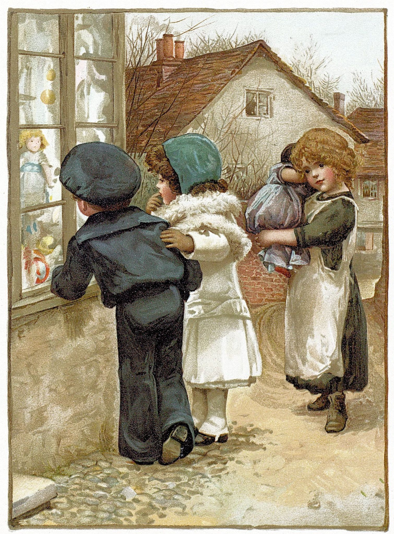 Rich Boy And Girl Look At Store Window While Poor Girl Looks On Free Vintage Antique Illustration Antique Illustration Illustration Vintage Antiques
