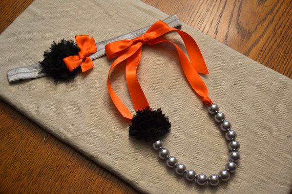 Spooky Set: Little Girl Ribbon Necklace and Headband - Orange, Black and Gray - Halloween - only $10