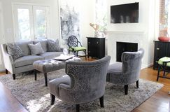 Cozy family room with monochromatic color scheme