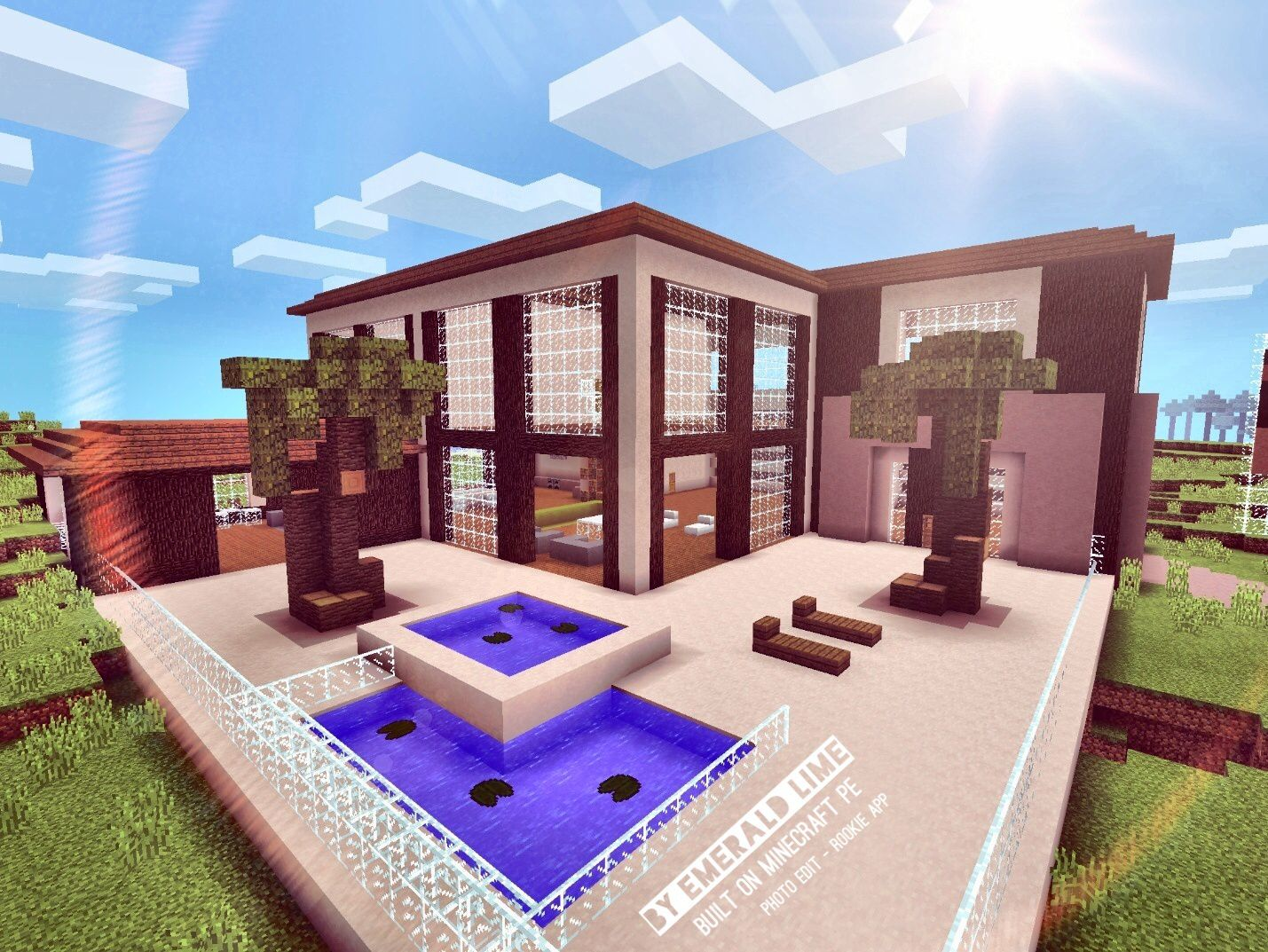 Modern house built and designed by emerald lime made on minecraft pe photo edit rookie app