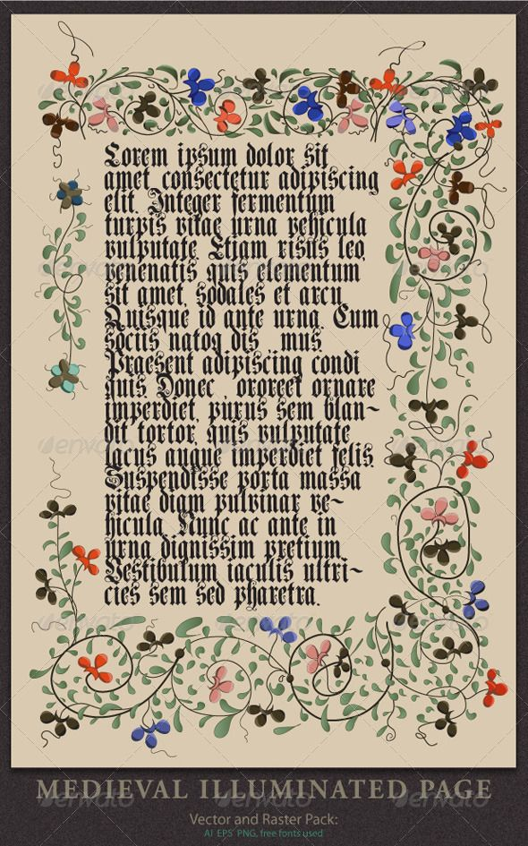 Medieval illuminated page medieval fonts and illustrators medieval illuminated page graphicriver vector and raster pack medieval illuminated page free font used genzsch et heyse designed by paul lloyd you can stopboris Choice Image