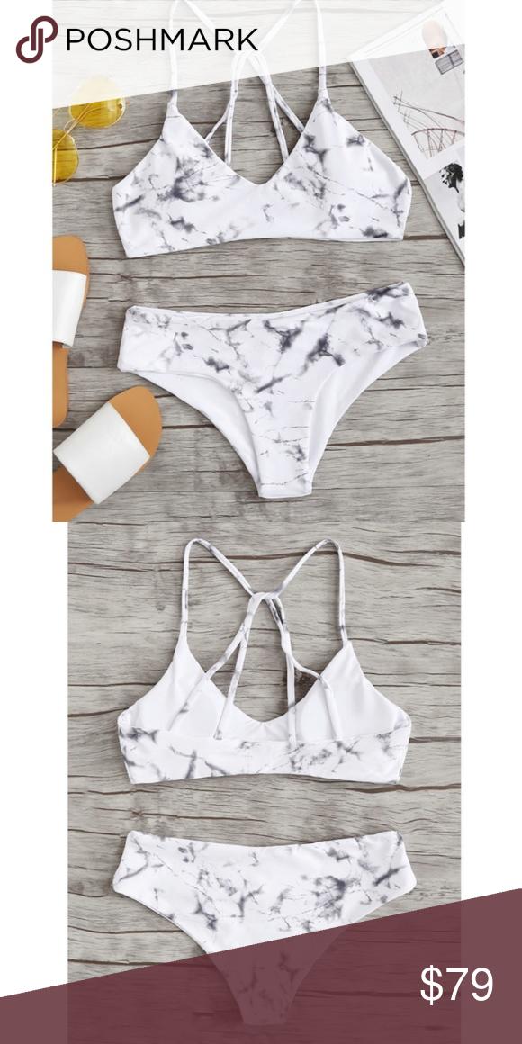 f533d079d57b8 Marble Print bikini with halter and cross back Marble Print bikini with a  halter top with