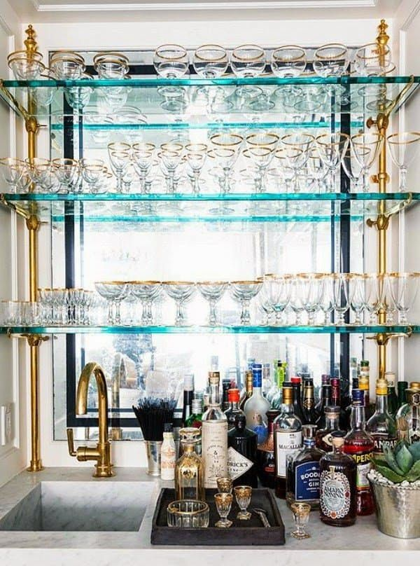Party Ready Kitchen Design Details For Anyone Who Loves To Entertain Glass Bar Shelves Glass Bar Bar Shelves