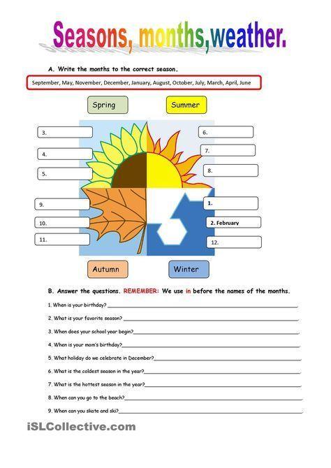 Seasons and weather | INGLES | Pinterest | Englisch-Unterricht und ...