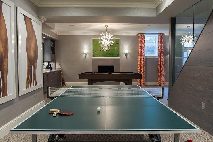 Gray Basement Game Room Contemporary Basement Game Room Basement Basement Games Basement Design