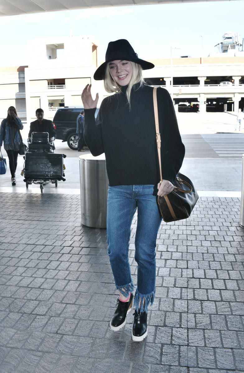 Elle Fanning at lax airport in los angeles on november 4, 2015