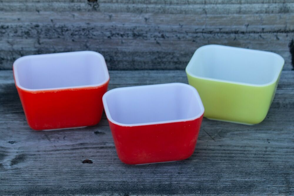 Details About 3 Vintage Pyrex 1 1 2 Cup Yellow Orange Red 501 Refrigerator Dishes Bowl 1 5 Pyrex Vintage Dish Bowl Pyrex