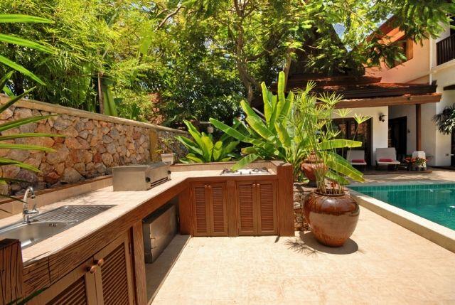 Schränke Für Außenküche : Pool terrasse luxus außenküche holz schränke grill garten