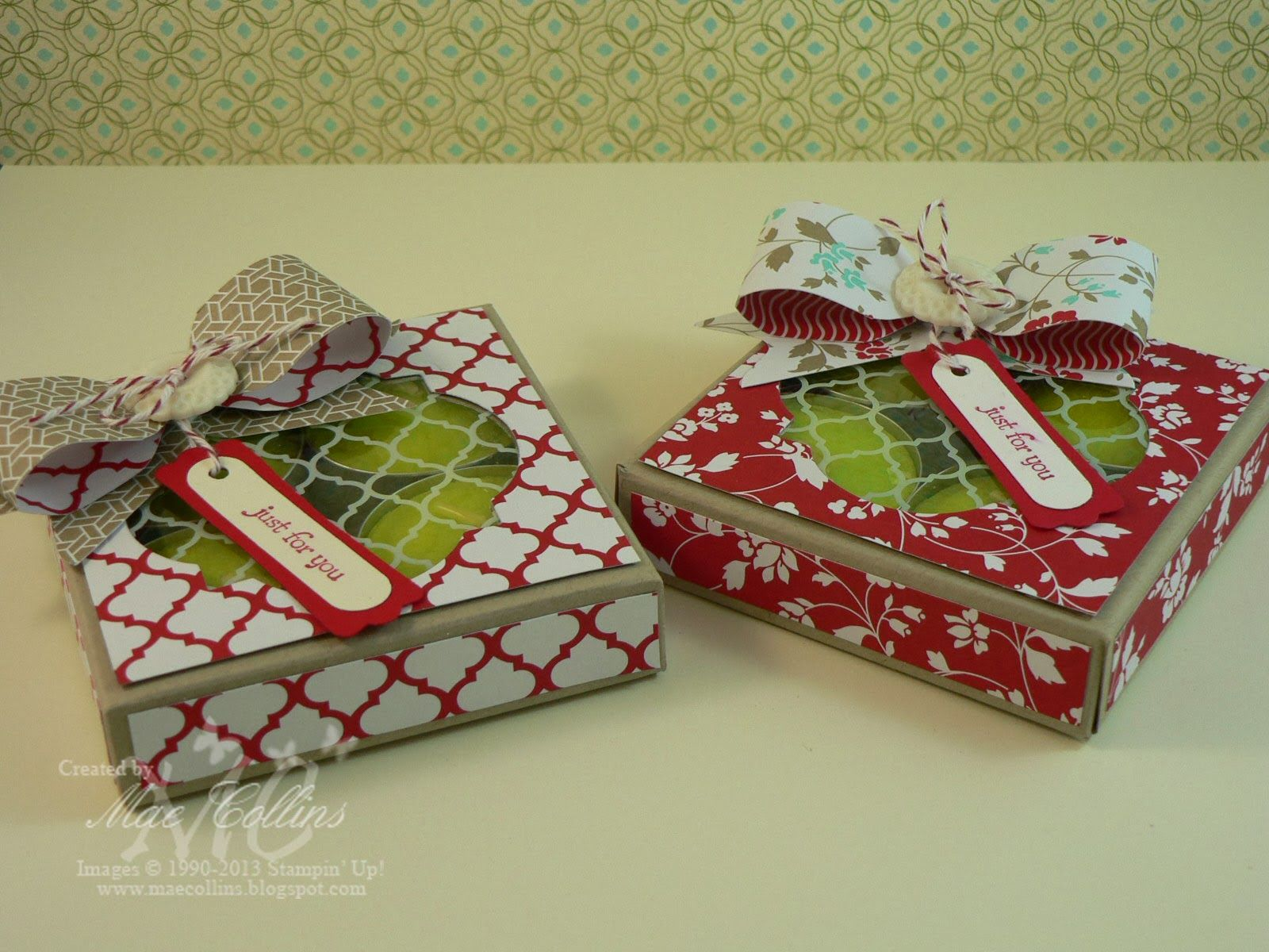 Cute tealight boxes bows made with the stampin up envelope punch cute tealight boxes bows made with the stampin up envelope punch board pretty gift negle Images