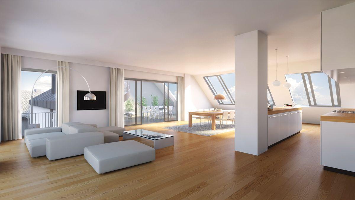 Dachgeschosswohnung mit terrasse mansard roofs casas for Dachgeschosswohnung dekorieren