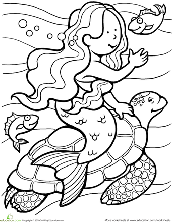 Mermaid Coloring Page Worksheets, Mermaid and Ocean