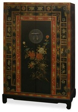 Hand Painted Tibetan Motif Tv Armoire Asian Furniture China And Arts