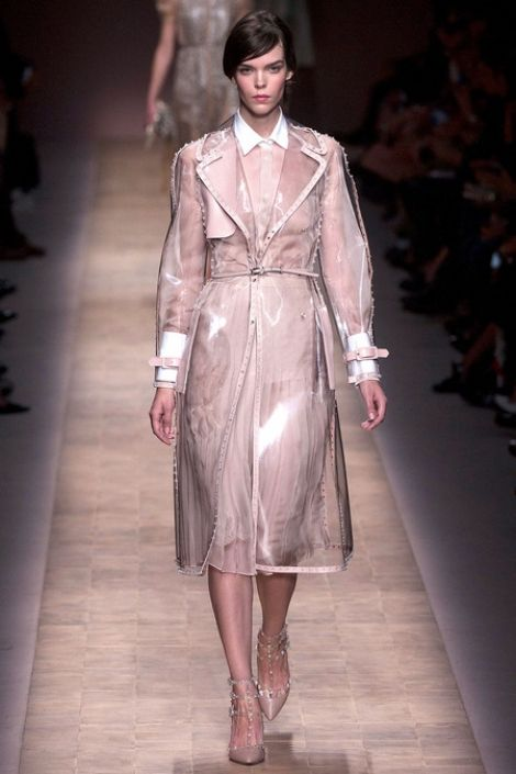 On every girl's wishlist this season: the clear, pink-studded raincoat from Valentino