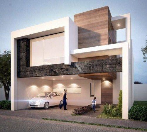Fachadas con cantera chocolate ideas para el hogar - Casas modernas decoracion ...