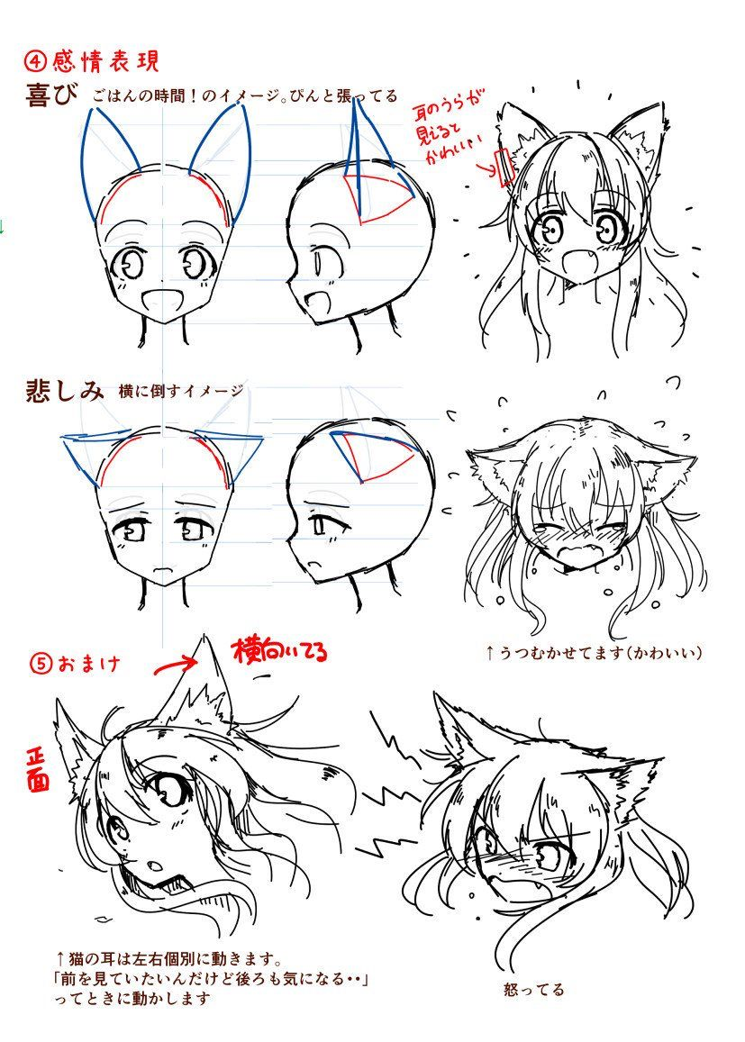 Scribble Drawing Tutorial : How to draw a neko girl with cat ears drawing