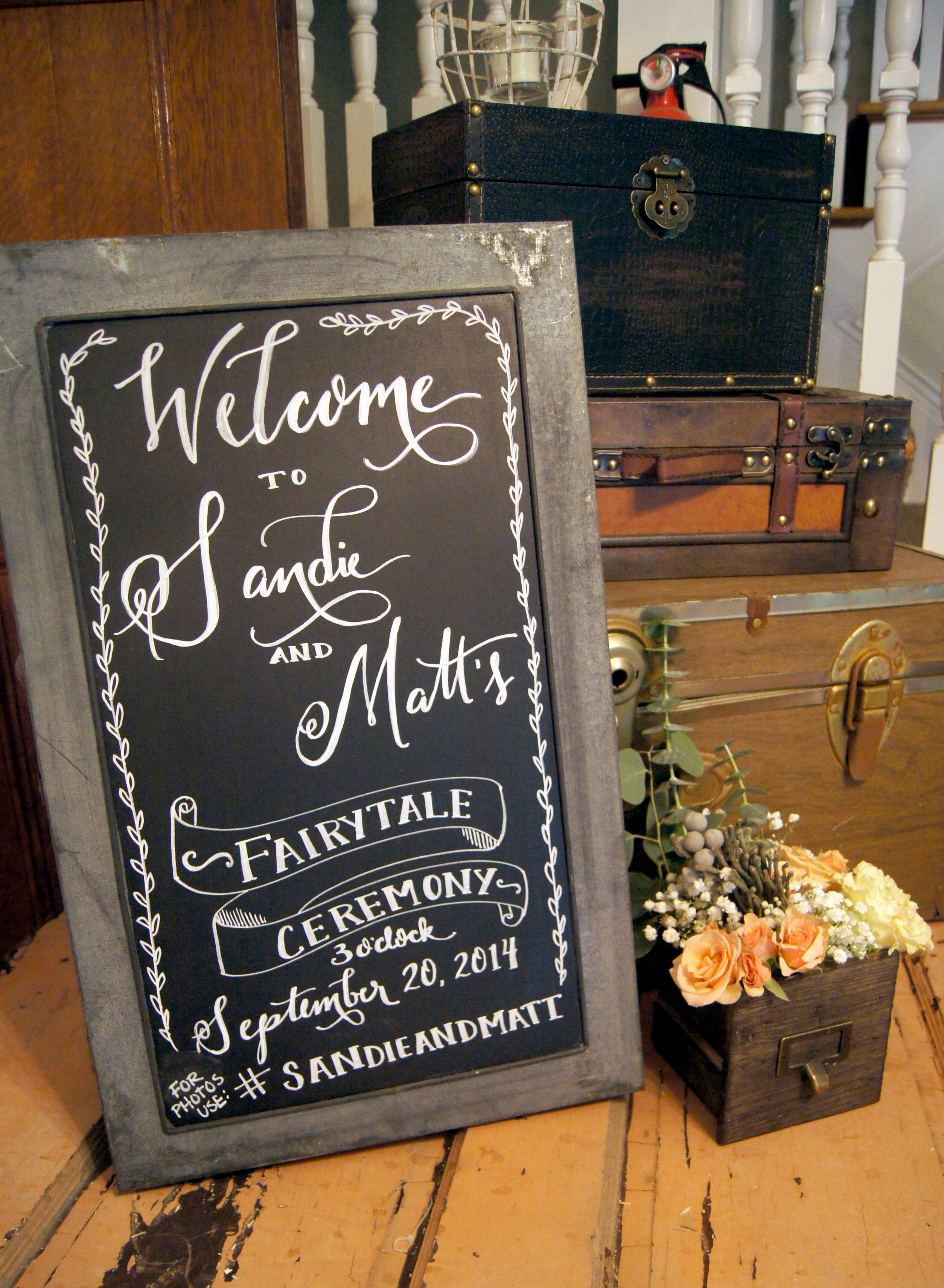 hand lettered wedding and event signage by peppers fine catering