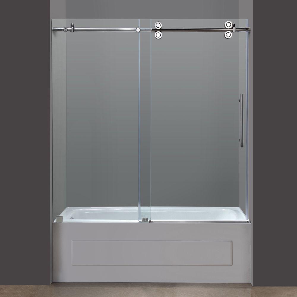 """Bathroom Shower Sliding Doors: Aston 60"""" Frameless Chrome Sliding Tub Door"""