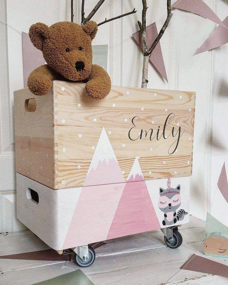 Wooden Box Toy Box Legobox Toy Box On Wheels M O U N T A I N S In 2020 Wooden Boxes Wooden Toy Boxes Toy Boxes