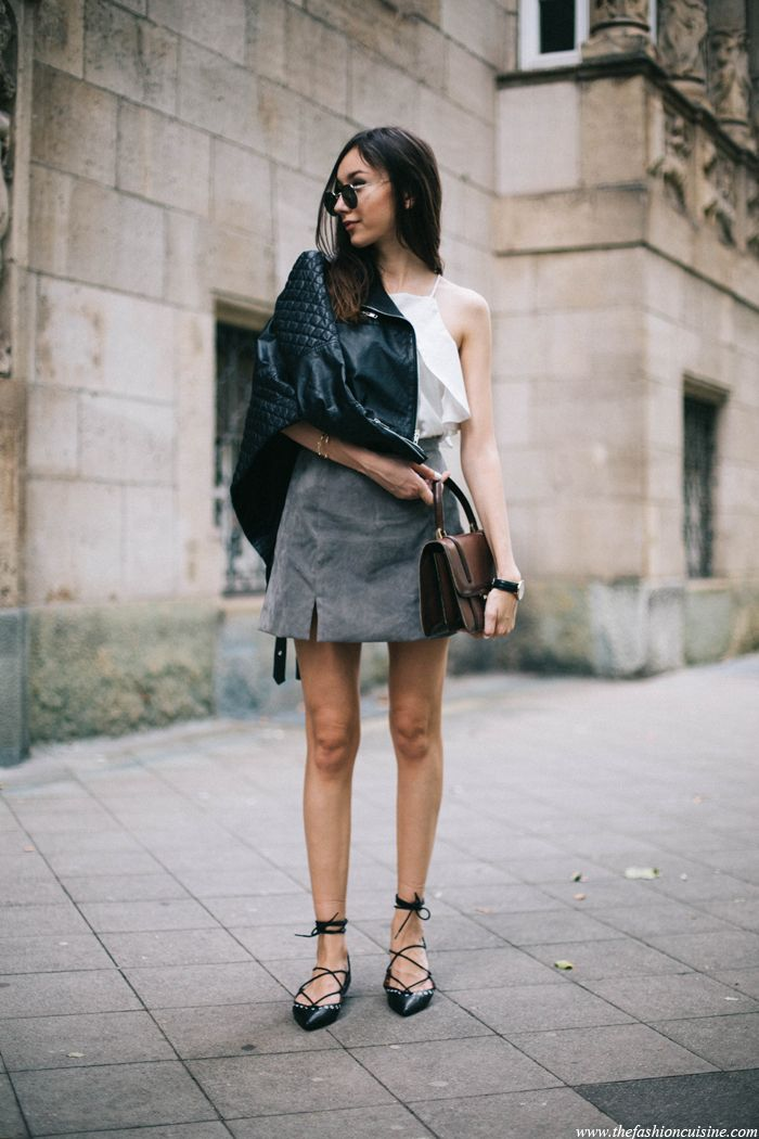 Suede Skirt with Lace-Up flats • The Fashion Cuisine