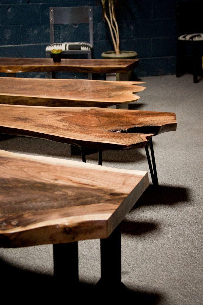 Modern Walnut Living Room Furniture: Live Edge Coffee Table