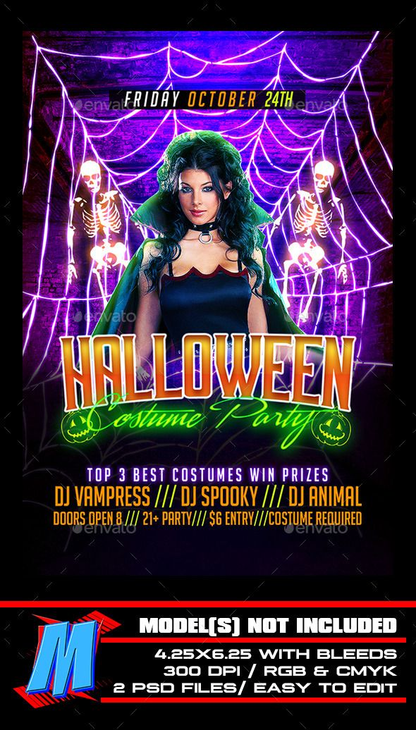 halloween costume party flyer template fonts logos icons